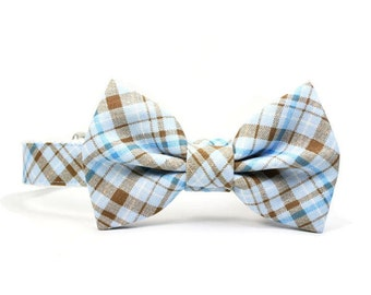Blue Plaid Dog Bow Tie Collar Wedding Blue Tartan Dog Collar Bowtie