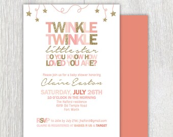 Twinkle Twinkle Little Star Birthday Invitations Star Theme