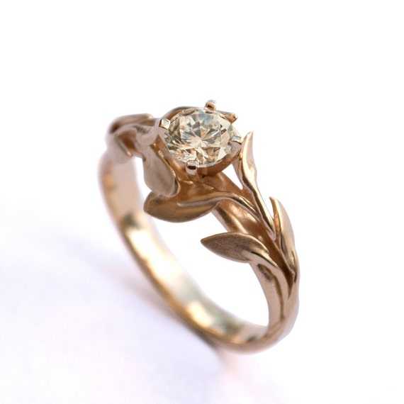 Leaves Engagement Ring No.4 - 18K Yellow Gold and Morganite engagement ring, engagement ring, leaf ring, morganite ring, morganite leaf ring