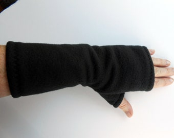 Black Fleece Gauntlet Fingerless Gloves, partially covered thumb, 9 1/2 inches long, black, ONE PAIR, driving, black gauntlet, size Med, A