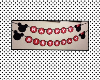 Minnie & Mickey Mouse Birthday Decorations Banner - Happy Birthday with your child's age
