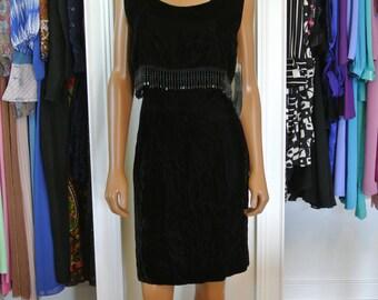 1990s Black Velvet Shift Dress Beaded Strand Mock Drape Dead Stock Size 11/Large