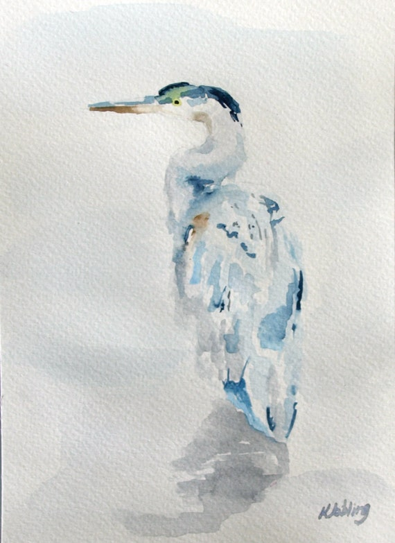 "Original Bird Heron Watercolour Painting // ""Watchful Heron"" 5x7"" Watercolour Paper"
