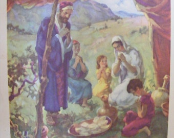 Christian Art 1939 Lithograph Giving Thanks for Meal of Quail Sent by God Religious Print Christian