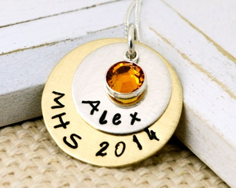 Graduation Personalized Necklace- Hand Stamped, Personalized, Graduation, High School, College