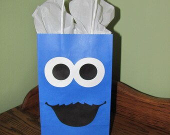 Cookie Monster Inspired Party Favor Gift Bag - Set of 6 - Birthday Party
