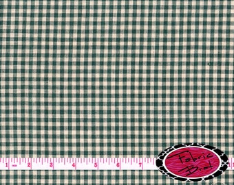 PINE GREEN HOMESPUN Fabric by the Yard, Fat Quarter Hunter Green Check Fabric Plaid Fabric 100% Cotton Fabric Quilting Fabric Yardage w7-1