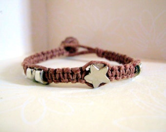 Natural Brown Hemp Bracelet with Metal Beads
