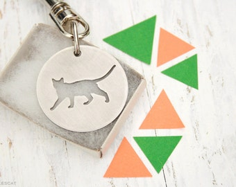 Free Shipping - Tonkinese Cat Siamese Cat Kitten Kitty Charm Stainless Steel Key Chain Keychain cut out Jewelry