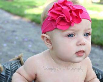 Baby headbands, hot pink flower, newborn headbands, infant head wrap, hot pink headbands, 1st birthday, pink flower