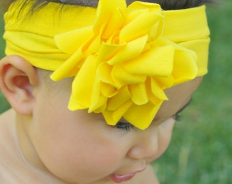 Baby headbands, yellow flower headband, infant head wrap, 1st birthday, newborn headbands, yellow headbands, summer headband