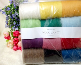 Hamanaka - Japanese Needle Felting wool Candy 12 color series solid color