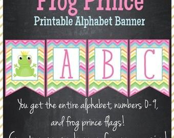 Frog Prince Banner Printable Alphabet Banner - Instant Download