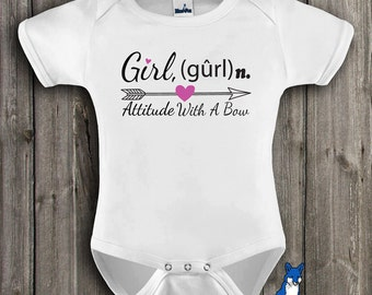Cute baby clothes , Girl Attitude with a Bow, baby girl bodysuit, cute baby clothing, by BlueFoxApparel *170