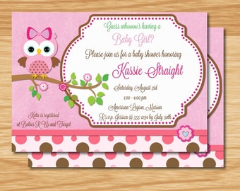 Baby Girl Owl Baby Shower Invitation