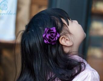 plum ribbon flower hair clip - adult hair accessories 110