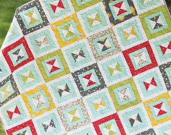 "Dixie Quilt Kit - Throw Size Measures 60"" x 77"" - Includes Pattern and 6 Yards of Fabric from Windham Fabrics - Pattern by Cluck Cluck Sew"