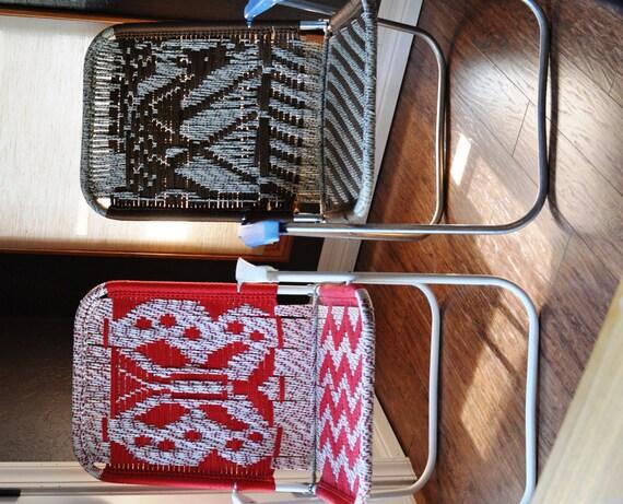 Vintage Macrame Folding Lawn Chairs Woven Garden Patio