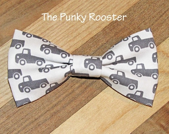 Gray and White Truck Bow Tie, Clip on Bow Tie, Boys Bow Tie, Toddler Bow Tie