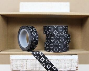 Washi Tape - black japanese floral pattern  - 9006