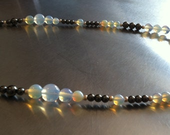 Opal, Hematite, and Sterling Silver Beaded Necklace