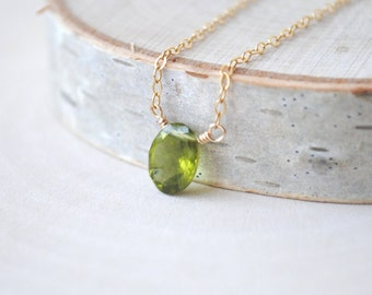 Peridot Necklace, Gold Peridot Necklace, Silver Peridot Necklace, August Birthstone Necklace