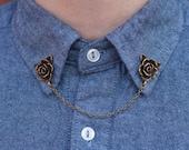 Bronze Rose Flower Collar Clip Collar Chain