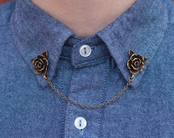 Bronze Rose Flower Collar Clip Collar Chain