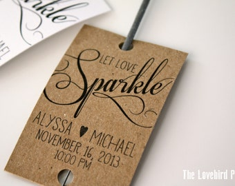 Personalized Printable Wedding Sparkler Tags -  Let Love Sparkle - Sparkler Send Off - AA3