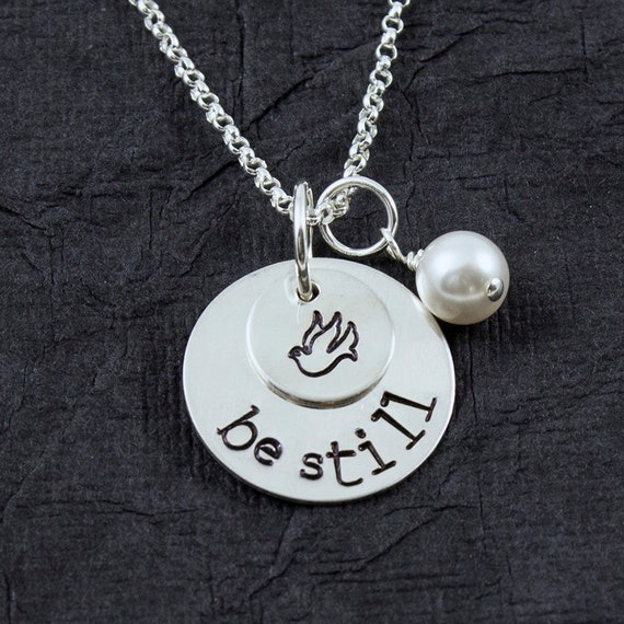 be still necklace holy ghost necklace baptism necklace