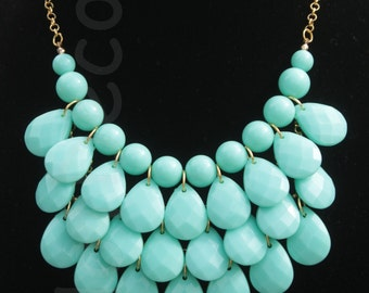 Statement necklace Bubble necklace Bib Necklace Aqua teardrop necklace gold or silver chain aqua jewlery Jewelry for women necklace gift