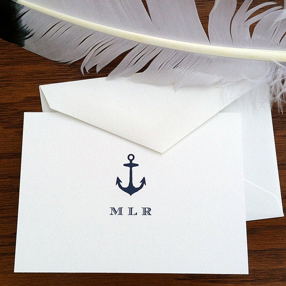 items similar to nautical stationery for men    women - set of 10