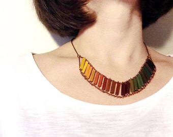 Wood Geometric Necklace // RAINBOW // Boho-Chic Jewelry // Made to order Hand-Painted Necklace // Minimal Jewelry // Modern Necklaces