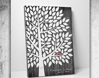 Custom Wedding Guest Book // Unique Wedding Guestbook // Wedding Tree Guestbook // 16x20 // 55-150 Signatures // Canvas or Flat Print