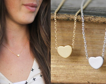 Gold/Silver Heart Necklace, Gold Heart Charm Necklace, Silver Heart  Charm Necklace,  Bridesmaid Gift, Wedding, Graduation, Love