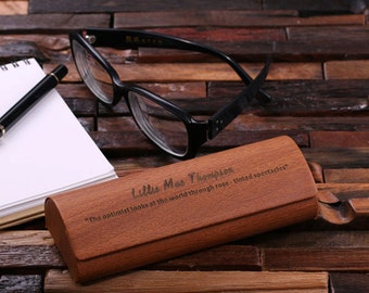 Eye Glass Case or Box Personalized Monogrammed (024582-DarkBrown)
