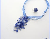 Set Necklace and Ring, Polymer Clay Jewelry, Blue Purple Flower Jewelry, Handmade Necklace, Wedding Necklace, Romantic, READY TO SHIP