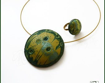 Polymer Clay Jewelry Set Green Golden - Dome Necklace and Ring Dark Green Forest, Modern Art Summer, Statement Jewelry. Ready to ship.