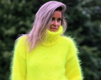 Hand Knit Mohair Sweater Neon Yellow Fuzzy Turtleneck Jumper Pullover Jersey MADE to ORDER