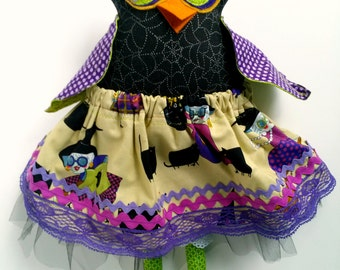 Halloween owl doll, Stuffed owl toy, Fabric owl girl, Halloween decoration, Plush owl, Purple black, Cloth owl, Owl art doll, Fancy owl doll