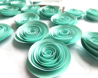 Mint Paper Flowers, Mint Wedding Flowers, Centerpiece, Table Scatter, Summer Wedding, Wedding Paper Flowers, Bridal Shower, Rehearsal Dinner