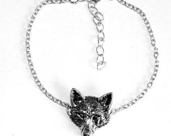 Fox's Head Anklet, Ankle Bracelet, Handmade in England, Chain, (th3)