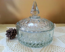 Indiana Glass Princess Candy Box Unusual Glass Ice Blue