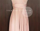 Nude Pink Bridesmaid Dress Convertible Dress Infinity Dress Multiway Dress Twist Wrap Dress Wedding Dress Cocktail Dress Evening Dress