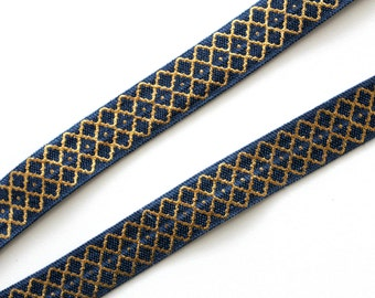 "5/8"" FOE Navy Gold Moroccan Pattern, Metallic, Shiny Fold Over Elastic, Printed"
