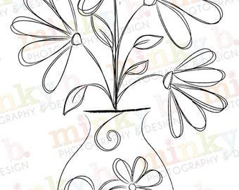 "INSTANT DOWNLOAD Digital Stamp ""Swirly Vase of Flowers"" by Minky B Designs"