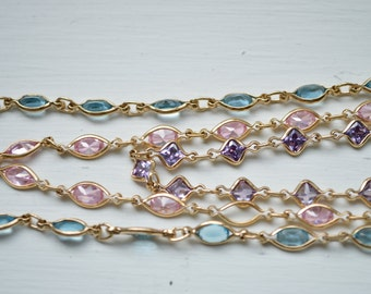 CLEARANCE: Gemstone Chain, Sterling Silver Finished Chain with Clasp, Pink, Purple Blue Gemstones, Silver Chain, Gold Chain