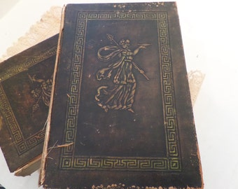 Antique Books Circa 1905 Set of 10 Roman and Greek Literature Paper Ephemera