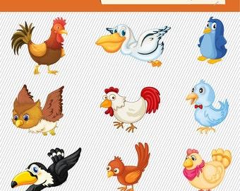 Birds, Chicken Clipart. Birds Illustration. Set of Birds Digital Images. 156