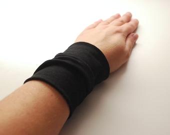 Solid BLACK Stretch Wrist Cuff Black Jersey Wrist Bracelet Fashion accessory Women Teens Wrist Tattoo Cover